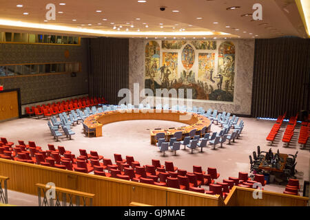 New York City USA United Nations Building. UN Security Council Chamber . - Stock Photo