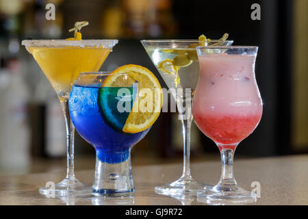 colourful cocktails on bar - Stock Photo