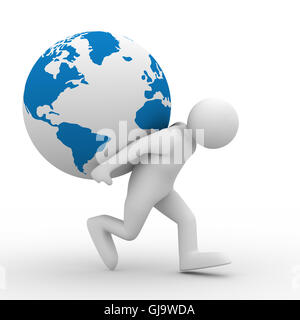 men carry globe on back. Isolated 3D image - Stock Photo