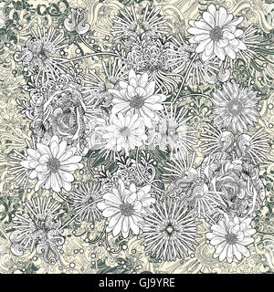 flowers seamless pattern,floral,monochrome endless background - Stock Photo