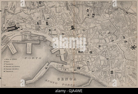 GENOA GENOVA GÊNES. Antique town plan. City map. Italy. BRADSHAW, 1895 - Stock Photo