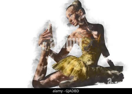 Lovely ballerina in yellow tutu. Digital art - Stock Photo