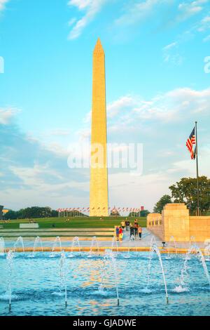 WASHINGTON, DC - SEPTEMBER 1: Washington and World War II Memorials with people on September 1, 2015 in Washington, - Stock Photo