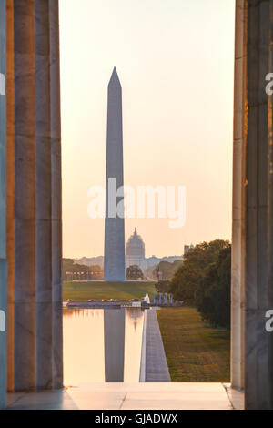 Washington Memorial monument in Washington, DC in the morning - Stock Photo