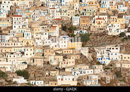 Olympos is a village of unbelievable beauty in Karpathos, Greece - Stock Photo