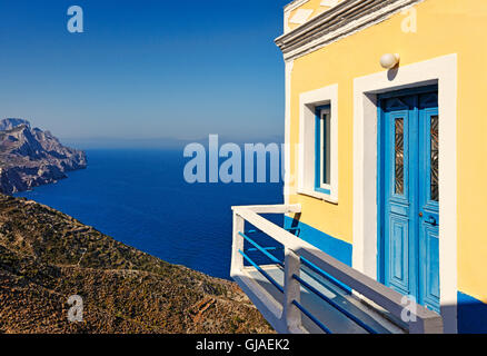 Traditional house of the village Olympos in Karpathos, Greece - Stock Photo
