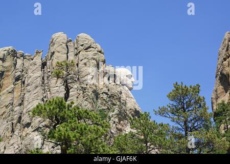 Mount Rushmore National Monument sculpture in South Dakota - Stock Photo