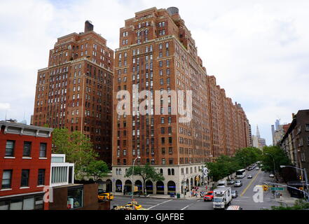 A view of the London Terrace Gardens Apartment buildings from the High Line in the Chelsea area of New York City, - Stock Photo