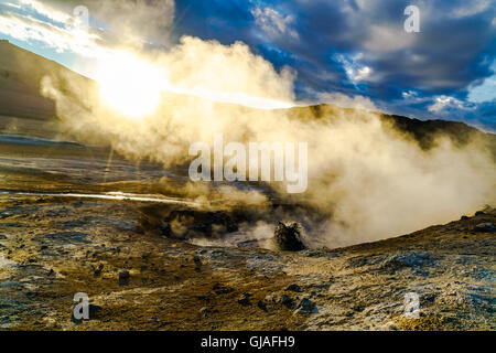 Boiling mud at Hverir geothermal area in North Iceland - Stock Photo
