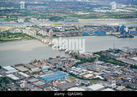 Thames Barrier, London UK, from the air - Stock Photo