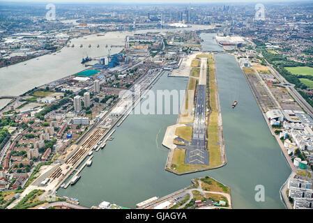 Pilots eye view of London City Airport, London, UK - Stock Photo
