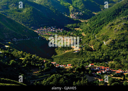 Portugal, Minho: View to the green mountains and valleys of National Park Peneda Geres - Stock Photo