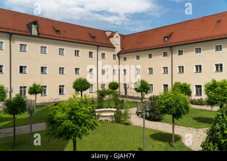 monastery courtyard, Schongau,  Upper-Bavaria, Bavaria, Germany, Europe - Stock Photo