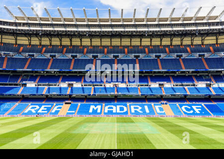 Stand and pitch at the Santiago Bernabeu Stadium, home of Real Madrid, Chamartin, Madrid, Spain - Stock Photo