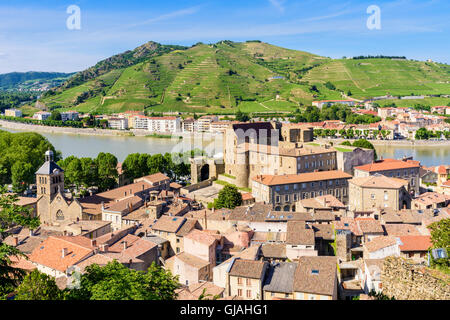 Tournon-sur-Rhone Town views and Tain-l'Hermitage on the far bank, in the Ardèche and Drôme respectively, France - Stock Photo