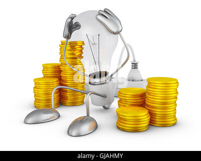 Incandescent holds his hands behind his head near the stacks of coins. 3D render. - Stock Photo