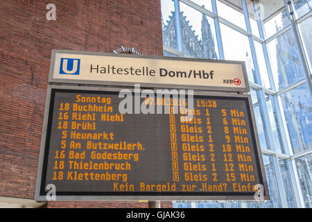 Metro Time Table in Cologne, Germany - Stock Photo