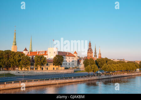 Scenic View To Promenad Of Daugava, In Riga, Latvia. Old Church Towers And Medieval Castle On Background. Seafront - Stock Photo