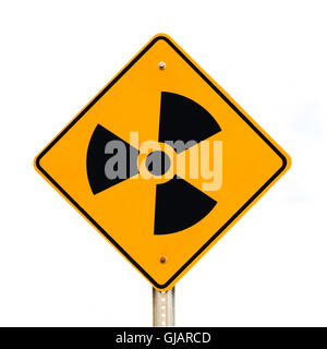 Radioactive road sign isolated on white - Stock Photo
