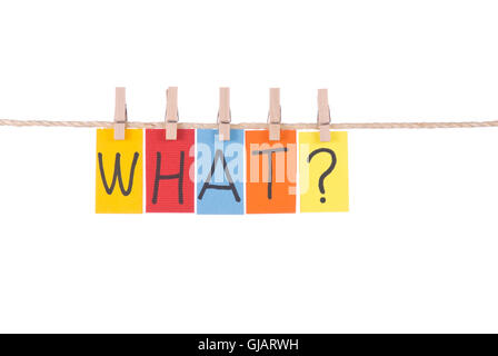 What, Colorful words hang on rope - Stock Photo
