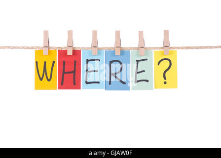 Where, Colorful words hang on rope - Stock Photo