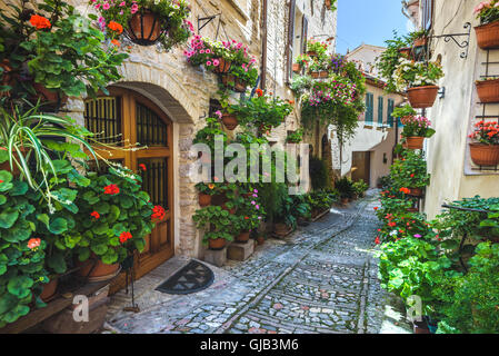 Spello and its nooks and streets of the beautiful Italian towns in Italy. - Stock Photo