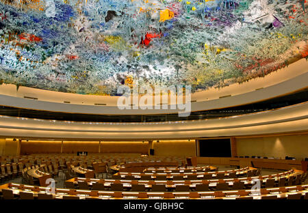 Ceiling sculpture in the Human Rights and Alliance of Civilization Chamber, Palais des Nations, Geneva, Switzerland - Stock Photo