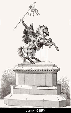 Equestrian monument of William the Conqueror, Château de Falaise, Falaise, Normandy, France - Stock Photo