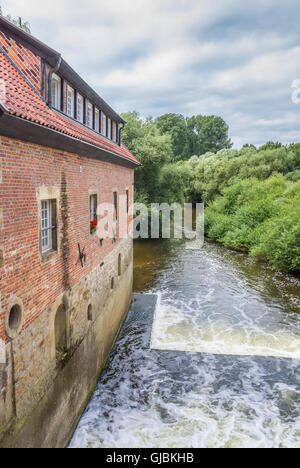 Old water mill in the center of Telgte, Germany - Stock Photo