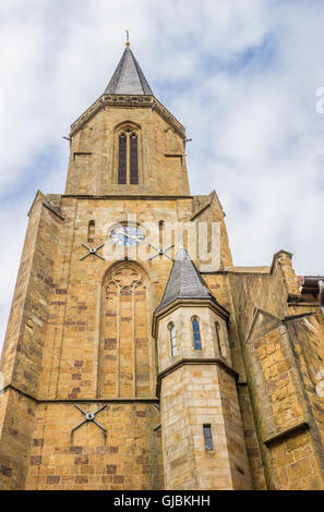 Tower of the St. Clemens church in Telgte, Germany - Stock Photo