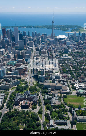 Downtown Toronto, Canada, seen from just above Bloor Street West and Queens Park, looking south towards the Toronto - Stock Photo