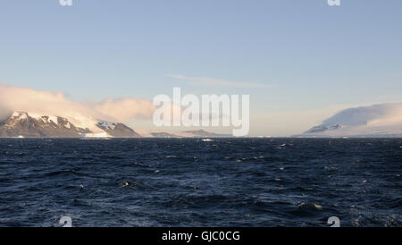 The icecap of the Antarctic Peninsula comes down to the Antarctic Sound between Hope Bay and Brown Bluff - Stock Photo