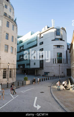new Broadcasting House and new eastern extension, the headquarters of the BBC in Portland Place and Langham Place - Stock Photo