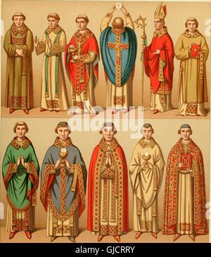 Le costume historique. Cinq cents planches, trois cents en couleurs, or et argent, deux cents en camaieu. Types - Stock Photo