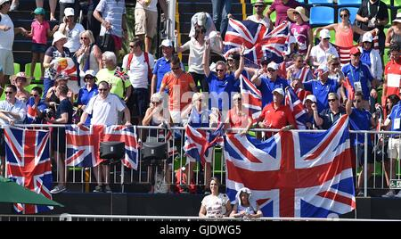 Rio de Janeiro, Brazil. 15th August, 2016. The British fans. Freestyle Dressage. Deodoro Equestrian Centre. Rio - Stock Photo
