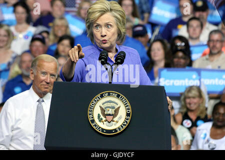 Scranton, Pennsylvania, USA. 15th August, 2016. Vice President Joe Biden and Presidential candidate Hillary Clinton - Stock Photo