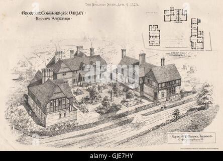 Cottages, Oakley, Bishops Stortford, Hertfordshire; Alfred WN Burder Archt, 1873 - Stock Photo