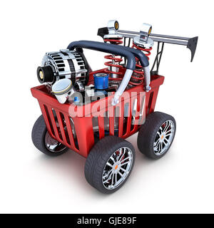 Abstract shopping cart and car parts (done in 3d rendering) - Stock Photo