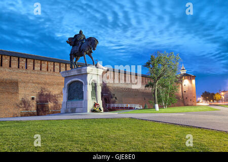 A monument to Dmitry Donskoy and kremlin wall in Kolomna, Moscow region, Russia - Stock Photo