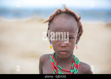 People on Lake Turkana in Kenya - Africa - Stock Photo