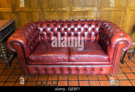 close up of vintage leather sofa - Stock Photo