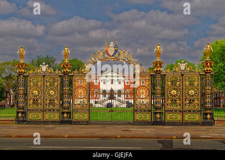Town Hall and its' ornate gates at Warrington, Cheshire. - Stock Photo