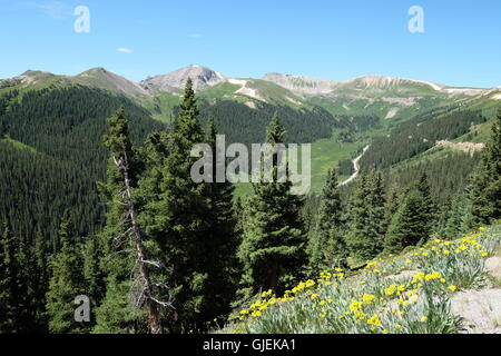 Landscape with mountains and sky in the background at Independence Pass on the Continental Divide - Stock Photo