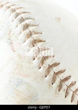 Macro shot of Leather baseball with stitching