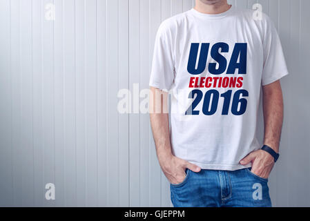 USA elections 2016, casual man wearing t-shirt with label printed on chest - Stock Photo