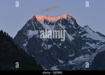 Sunset on Mount Collon, Arolla, Switzerland - Stock Photo