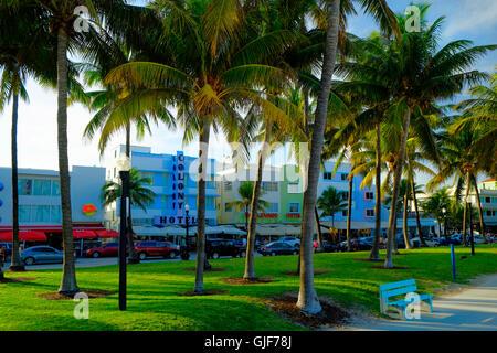 Art Deco Hotels, Ocean Drive, Miami, Florida - Stock Photo
