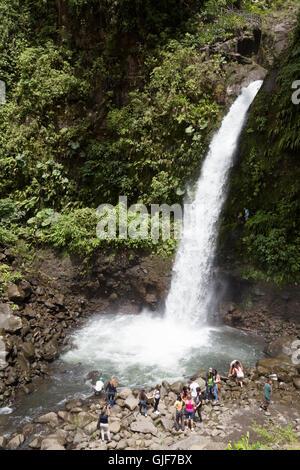 Tourists at La Paz waterfall, Poas, Costa Rica, Central America - Stock Photo