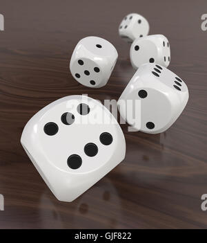 3D Render of 5 classic white dices rolling forward on wooden background. Medium DOF. - Stock Photo