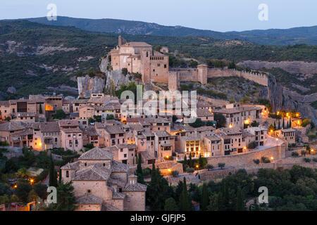 View. Medieval village of Alquezar, Huesca province, Aragon, Spain. - Stock Photo